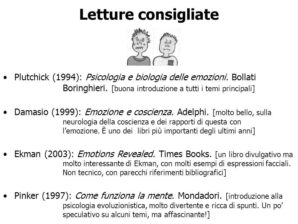 Letture consigliate Plutchick (1994): Psicologia e biologia delle emozioni. Bollati Boringhieri. [buona introduzione a tutti i temi principali]